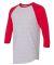 BB453W 50/50 Three-Quarter Sleeve Raglan T-shirt HTHR GREY/ RED