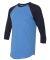 BB453W 50/50 Three-Quarter Sleeve Raglan T-shirt HTH LK BLUE/ NVY
