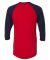 BB453W 50/50 Three-Quarter Sleeve Raglan T-shirt RED/ NAVY