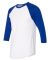 BB453W 50/50 Three-Quarter Sleeve Raglan T-shirt WHITE/ LAPIS