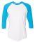 BB453W 50/50 Three-Quarter Sleeve Raglan T-shirt WHT/ NEO HTR BLU