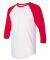 BB453W 50/50 Three-Quarter Sleeve Raglan T-shirt WHITE/ RED