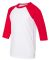 3200Y Bella + Canvas Youth Three-Quarter Sleeve Ba WHITE/ RED