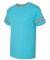 Jerzees 602MR Triblend Ringer Varsity T-Shirt Caribbean Blue/ Oxford