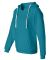 J America 8836 Women's Sueded V-Neck Hooded Sweats Turqberry