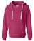 J America 8836 Women's Sueded V-Neck Hooded Sweats Wildberry