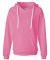J America 8836 Women's Sueded V-Neck Hooded Sweats Neon Pink