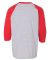 Gildan 5700B Heavy Cotton Youth Raglan Tee SPORT GREY/ RED