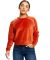 Ladies' Velour Long Sleeve Crop T-Shirt Rust