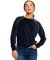 Ladies' Velour Long Sleeve Crop T-Shirt Navy Blue