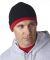 8132 UltraClub® Two-Tone Acrylic Knit Beanie BLACK/ DARK RED