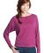 District Juniors Textured Wide Neck Long Sleeve Ra Pink Raspberry