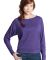 District Juniors Textured Wide Neck Long Sleeve Ra Purple