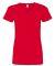 3507 LA T Ladies V-Neck Longer Length T-Shirt RED