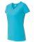 3507 LA T Ladies V-Neck Longer Length T-Shirt AQUA