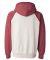 J8885 J-America Adult Vintage Heather Hooded Fleec Oatmeal Heather/ Simply Red Heather