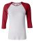 Bella 2000 Ladies Ribbed 3/4 Sleeve Baseball Tee B WHITE/ RED