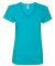 88VL Anvil - Missy Fit Ringspun V-Neck T-Shirt Caribbean Blue