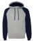 96CR JERZEES - Nublend® Colorblocked Hooded Pullo Oxford/ J. Navy