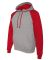 96CR JERZEES - Nublend® Colorblocked Hooded Pullo Oxford/ True Red