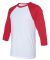 BELLA+CANVAS 3200 Unisex Baseball Tee WHITE/ RED