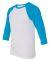 BELLA+CANVAS 3200 Unisex Baseball Tee WHITE/ NEON BLUE