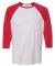 M3229 All Sport Men's Baseball T-Shirt WHITE/ SP RED