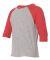 3330 Rabbit Skins Toddler Baseball Raglan Vintage Heather/ Vintage Red